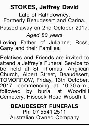 Formerly Beaudesert and Carina. Passed away on 2nd October 2017. Aged 80 years Loving Father of J...