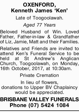 Late of Toogoolawah.