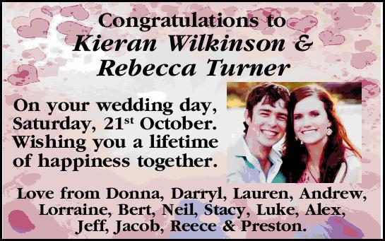 Congratulations to Kieran Wilkinson & Rebecca Turner   On your wedding day, Saturday, 21s...