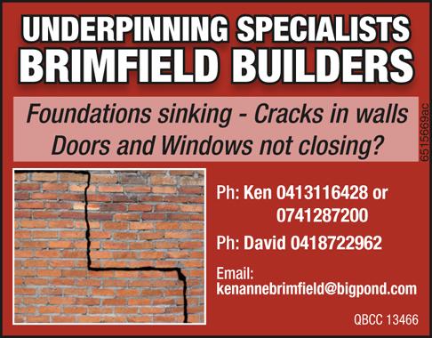 UNDERPINNING SPECIALISTS     Foundations sinking - Cracks in walls?   Doors...
