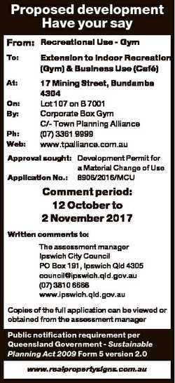 Proposed development Have your say From: Recreational Use - Gym To: Extension to Indoor Recreation (...