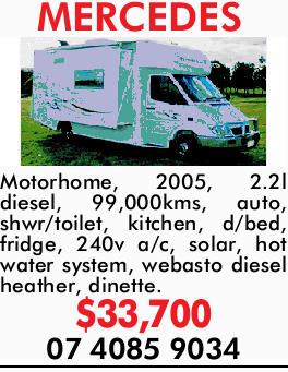MERCEDES Motorhome    2005  2.2l Diesel  99,000kms  Auto  Shwr/toilet...