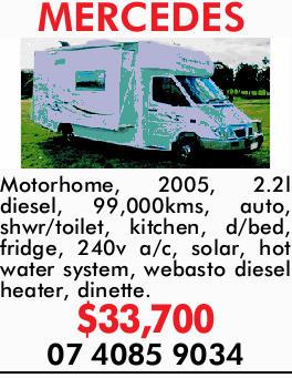 MERCEDES Motorhome,     2005,  2.2l diesel,  99,000kms,  Auto,  Shwr/t...