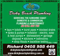 Dicky Beach Plumbing SERVICING THE SUNSHINE COAST DOMESTIC & COMMERCIAL PLUMBING & MAINTE...
