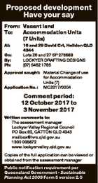 Proposed development Have your say From: Vacant land To: Accommodation Units (7 Units) At: On: By: Ph: 16 and 29 David Crt, Helidon QLD 4344 Lots 26 and 27 SP 278689 LOCKYER DRAFTING DESIGNS (07) 5462 1785 Approval sought: Material Change of use for Accommodation Units (7) Application No.: MC2017 ...