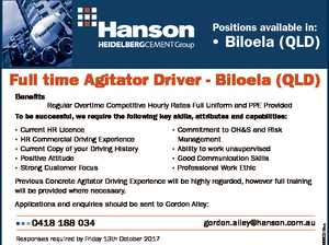 Positions available in: * Biloela (QLD) Full time Agitator Driver - Biloela (QLD) Benefits Regular Overtime Competitive Hourly Rates Full Uniform and PPE Provided To be successful, we require the following key skills, attributes and capabilities: * * * * * Current HR Licence HR Commercial Driving Experience Current Copy of your Driving History Positive Attitude Strong ...