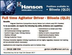 Positions available in: * Biloela (QLD) Full time Agitator Driver - Biloela (QLD) Benefits Regular O...