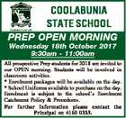 COOLABUNIA STATE SCHOOL PREP OPEN MORNING Wednesday 18th October 2017 9:30am - 11:00am All prospective Prep students for 2018 are invited to our OPEN morning. Students will be involved in classroom activities. * Enrolment packages will be available on the day. * School Uniforms available to purchase on the day. Enrolment ...
