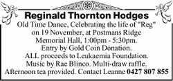 """Reginald Thornton Hodges Old Time Dance, Celebrating the life of """"Reg"""" on 19 November,..."""
