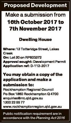 Proposed Development Make a submission from 16th October 2017 to 7th November 2017 Dwelling House Wh...