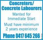 Concreters / Concrete Labourers