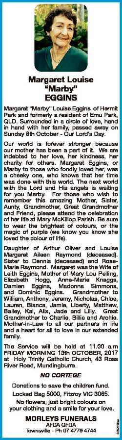 """Margaret Louise """"Marby"""" EGGINS Margaret """"Marby"""" Louise Eggins of Hermit Park and..."""