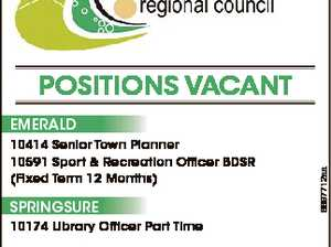 POSITIONS VACANT 10414 Senior Town Planner 10591 Sport & Recreation Officer BDSR (Fixed Term 12 Months) SPRINGSURE 6697712aa EMERALD 10174 Library Officer Part Time Positions Close: 12 noon Monday 23 October 2017 Email: recruitment@chrc.qld.gov.au Apply Online: www.centralhighlands.qld.gov.au Scott Mason Chief Executive Officer  1300 ...