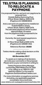 TELSTRA IS PLANNING TO RELOCATE A PAYPHONE