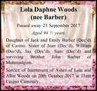 Lola Daphne Woods (nee Barber)