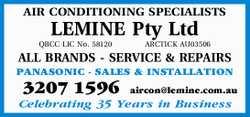 AIR CONDITIONING SPECIALISTS   LEMINE Pty Ltd    QBCC LIC No. 58120 ARCTICK AU03506   ...