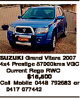 SUZUKI Grand Vitara 2007 4x4 Prestige 87000kms VGC Current Rego RWC $15,500 Call Mobile 0448 792683 or 0417 077442
