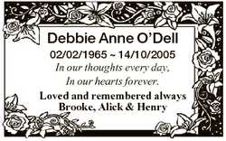 Debbie Anne O'Dell 02/02/1965  14/10/2005 In our thoughts every day, In our hearts forever. Love...