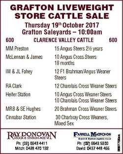 GRAFTON LIVEWEIGHT STORE CATTLE SALE Thursday 19th October 2017 Grafton Saleyards - 10:00am 600 CLAR...