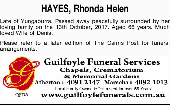 HAYES, Rhonda Helen