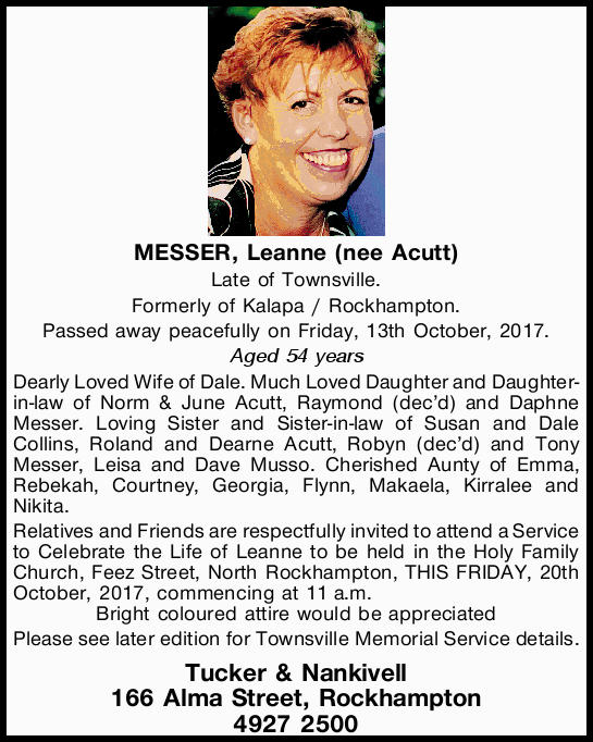 Late of Townsville. Formerly of Kalapa / Rockhampton.   Passed away peacefully on Frida...