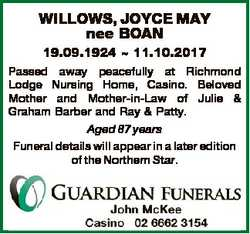 WILLOWS, JOYCE MAY nee BOAN 19.09.1924  11.10.2017 Passed away peacefully at Richmond Lodge Nursing...