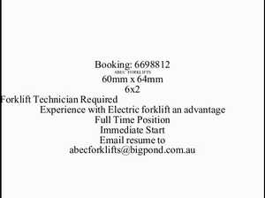 Forklife Technician Required