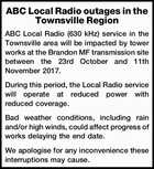 ABC Local Radio outages in the Townsville Region