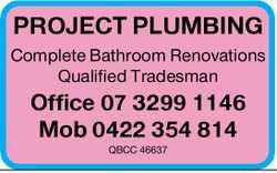 Qualified Tradesman.  Plumbing.  QBCC 46637.