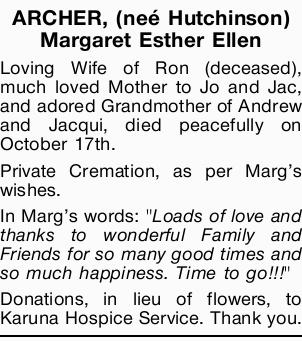 ARCHER, (neé Hutchinson) Margaret Esther Ellen