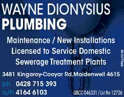 WAYNE DIONYSIUS PLUMBING 3168839ab 5515775ab Maintenance / New Installations Licensed to Service...