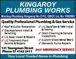 6196577ab KINGAROY PLUMBING WORKS Mackay Plumbing Kingaroy No 2 P/L QBCC Lic No 1062993 Quality P...