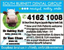 SOUTH BURNETT DENTAL GROUP beautiful, healthy smiles 4162 1008 5924565ag 58 Edward Street, Kingar...