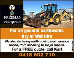 We also do heavy earthmoving maintenance needs, from servicing to major repairs. For a FREE quote...