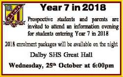 Year 7 in 2018 Prospective students and parents are invited to attend an information evening for stu...