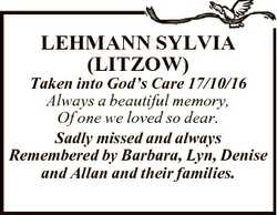 LEHMANN SYLVIA (LITZOW) Taken into God's Care 17/10/16 Always a beautiful memory, Of one we love...