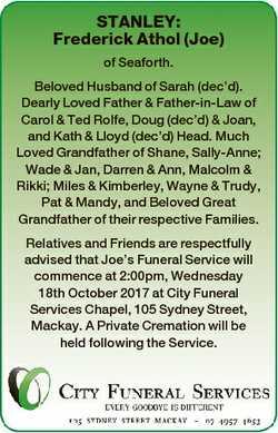 STANLEY: Frederick Athol (Joe) of Seaforth. Beloved Husband of Sarah (dec'd). Dearly Loved Fathe...