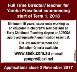 Full Time Director/Teacher for Yamba Preschool commencing start of Term 1, 2018. Minimum 10 years...