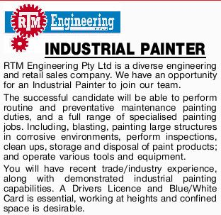 RTM Engineering Pty Ltd is a diverse engineering and retail sales company. We have an opportunity...