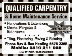 QUALIFIED CARPENTRY & Home Maintenance Service LIC: 1117907 / BLN: 20336858 5702524ab * Renov...