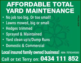 No job too big. Or too small! Lawns mowed, big or small Hedges trimmed Sprayed & Maintained Y...
