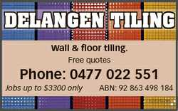 DELANGEN TILING Wall & floor tiling. Free quotes Phone: 0477 022 551 Jobs up to $3300 only ABN:...