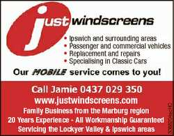 www.justwindscreens.com Family Business from the Marburg region 20 Years Experience - All Workman...