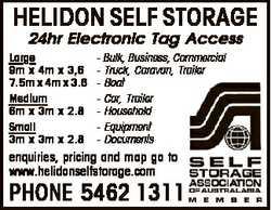 HELIDON SELF STORAGE 24hr Electronic Tag Access Large 9m x 4m x 3,6 7.5m x 4m x 3.6 Medium 6m x 3...