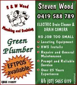 S & W Wood Steven Wood 0419 588 789 Green P lu m b e r S EFTPOble availa QBCC 1110577 ELECTRI...
