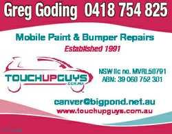 Greg Goding 0418 754 825 Mobile Paint & Bumper Repairs Established 1991 NSW lic no. MVRL50791 AB...