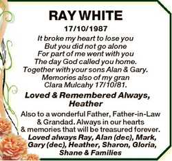 RAY WHITE 17/10/1987 It broke my heart to lose you But you did not go alone For part of me went with...