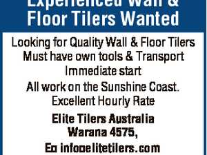 Experienced Wall & Floor Tilers Wanted Looking for Quality Wall & Floor Tilers Must have own tools & Transport Immediate start All work on the Sunshine Coast. Excellent Hourly Rate Elite Tilers Australia Warana 4575, E info elitetilers.com T 0410618085