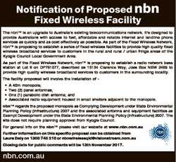 Notification of Proposed nbn Fixed Wireless Facility The nbnTM is an upgrade to Australia's exis...