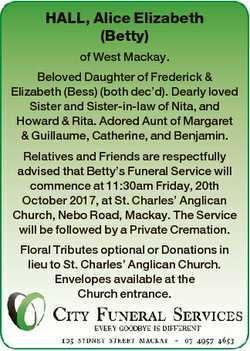 HALL, Alice Elizabeth (Betty) of West Mackay. Beloved Daughter of Frederick & Elizabeth (Bess) (...